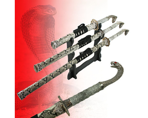 3pc Straight Cobra Sword Set With Stand